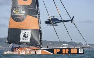 Kevin Escoffier à bord de PRB sur le Vendée Globe.