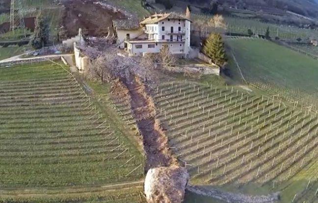 Vue du vignoble de Tramin, un village de la région italienne germanophone du Trentino-Alto Adige en partie détruit pas un éboulement le 21 janvier 2014.