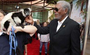 Morgan Freeman à Los-Angeles le 29 mars pour l'avant-première de Madagascar: L'île des Lémuriens.