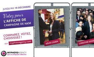 Capture d'écran du site qui propose aux internautes de choisir le visuel de campagne de Nathalie Kosciusko-Morizet