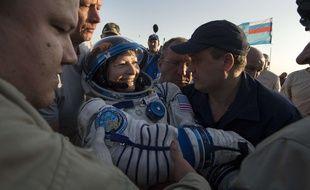 L'astronaute américaine Peggy Whitson après son atterrissage au Kazakhstan, le 3 septembre 2017.