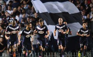 Maurice-Belay, Contento, Sala, Pallois et Khazri (de g. à d.), quatre des cinq recrues des Girondins, symboles du renouveau de Bordeaux, vainqueur de Monaco, le 17 août. AFP PHOTO / NICOLAS TUCAT