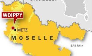 Carte de localisation de Woippy, près de Metz (Moselle, Lorraine), où trois  jeunes sur un scooter ont été poursuivis par la police avant d'être victimes  d'un accident.