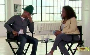Pharrell Williams dans l'émission d'Oprah Winfrey le 14 avril 2014