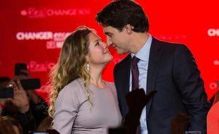 Justin Trudeau sa femme Sophie,  le 19 octobre 2015  à Montréal