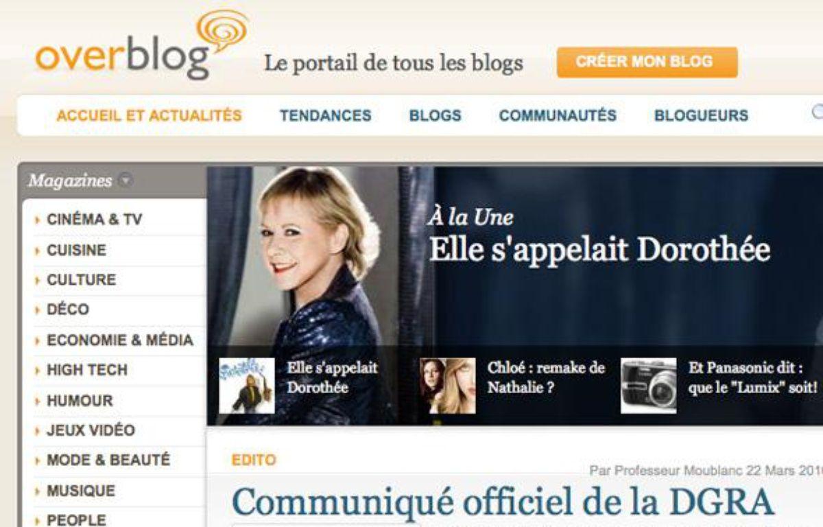 La page d'accueil de la plate-forme Overblog. – DR