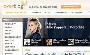 La page d'accueil de la plate-forme Overblog.