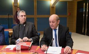 Jean-Yves Le Drian devant la commission du Sénat enquêtant sur l'affaire Benalla, le 16 janvier 2019.