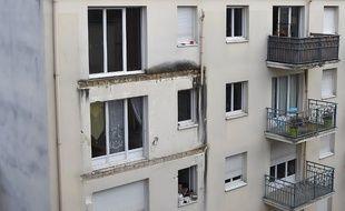L'immeuble à Angers dont le balcon s'est effondré le 15 octobre 2016, tuant 4 personnes.