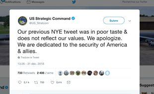 Capture d'écran du compte Twitter de l'US Strategic Command qui s'est excusé publiquement après une blague de mauvais goût lundi.