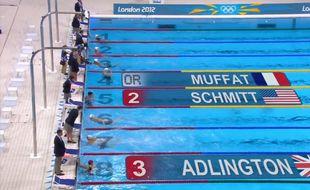 Capture d'écran de la médaille d'or de Camille Muffat à Londres, en 2012