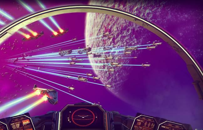 Entre deux explorations de planète, le joueur de No Man's Sky arpente l'espace intersidéral.