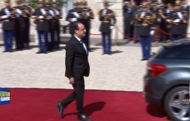 Capture d'écran BFMTV de François Hollande part de l'Elysée, le 14 mai 2017