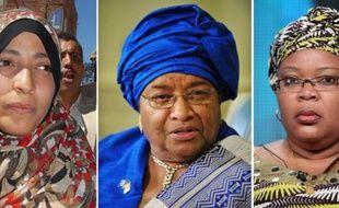 Les trois lauréates du prix Nobel de la paix 2011: la Yéménite Tawakkul Karman, la présidente du Libéria Ellen Johnson Sirleaf et sa compatriote Leymah Gbowee.