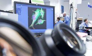 Illustration d'une recherche scientifique sur des cellules; et d'un microscope.