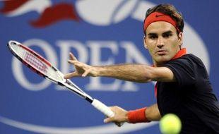 Le tennisman Roger Federer, lors de son match à l'US Open face à Simon Greul, le 2 septembre 2009.