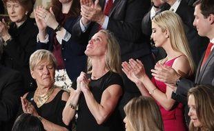 Carryn Owens, la veuve du soldat Ryan Owens, lors du discours de Donald Trump devant le Congrès, le 28 février 2017.
