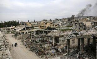 Ruines d'un quartier de la ville syrienne de Kobane, le 27 mars 2015