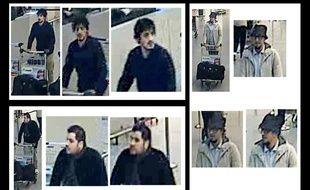 Photos de trois suspects des attentats qui ont touché Bruxelles, le 22 mars 2016. Les deux de gauche sont sans doute mort mais celui de droite est recherché.