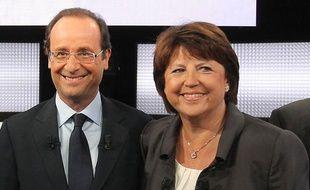 François Hollande et Martine Aubry sur le plateau de «Des paroles et des actes», lors du débat des primaires socialistes diffusé sur France 2, le 15 septembre 2011.