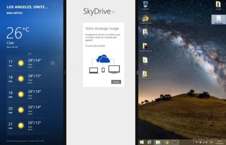 Le mode multi-fenêtres a été revu dans Windows 8.1.