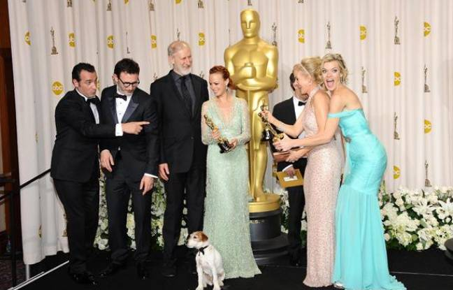 L'équipe de «The Artist» après la cérémonie des Oscars 2012.