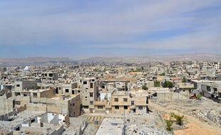 Le 1er avril 2018 montre des bâtiments détruits dans l'ancienne ville rebelle de Jobar, récemment prise par les forces du régime, dans la Ghouta orientale.