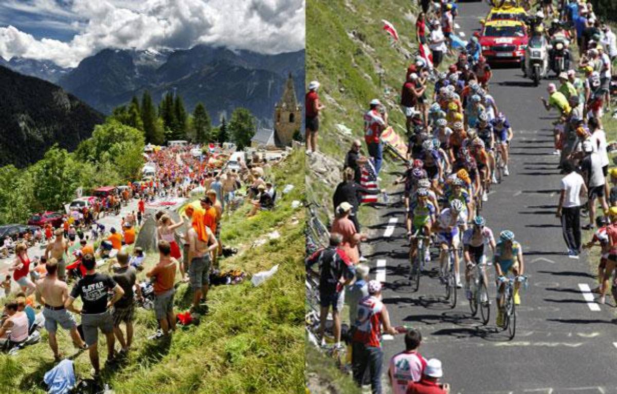 Les coureurs du Tour de France, dans les Alpes (à g.) en 2011 et dans les Pyrénées en 2010 (à dr.). – AFP