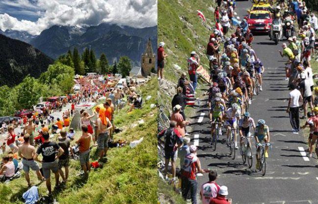 Les coureurs du Tour de France, dans les Alpes (à g.) en 2011 et dans les Pyrénées en 2010 (à dr.).