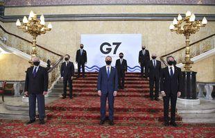 Les ministres des Affaires étrangères du G7, à Londres, le mardi 4 mai 2021.
