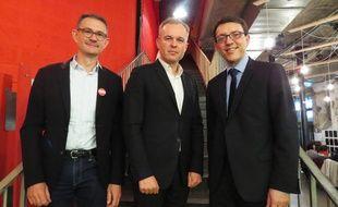 Laurent Martinez (conseiller régional Ecologistes!), François de Rugy (député Ecologistes!) et Christophe Clergeau (tête de liste PS)