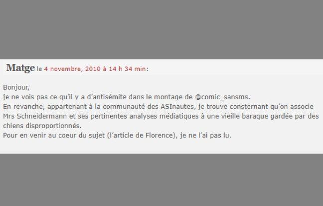 Commentaire laissé par l'utilisateur Matge le 4 novembre 2010.