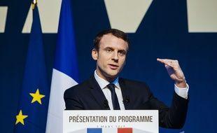 Emmanuel Macron le 2 mars 2017, au Pavillon Gabriel à Paris.