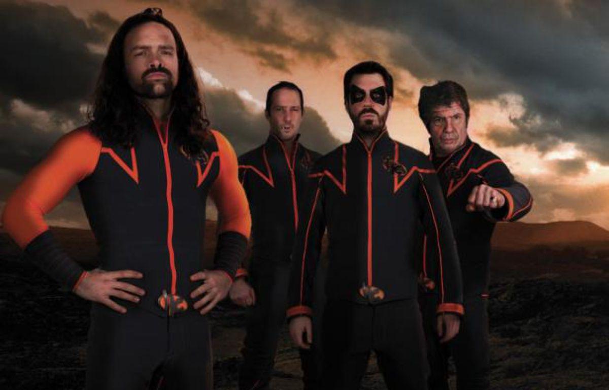 Des acteurs de la série «Hero Corp»: Alban Lenoir (Klaus), Sébastien Lalanne (Doug), Simon Astier (John) et Lionnel Astier(Neil Mac Kormack). – CALT