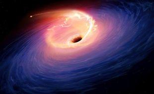 Un trou noir en train d'avaler une étoile.