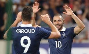 Olivier Giroud et Karim Benzema, face à la Jamaïque le 8 juin 2014