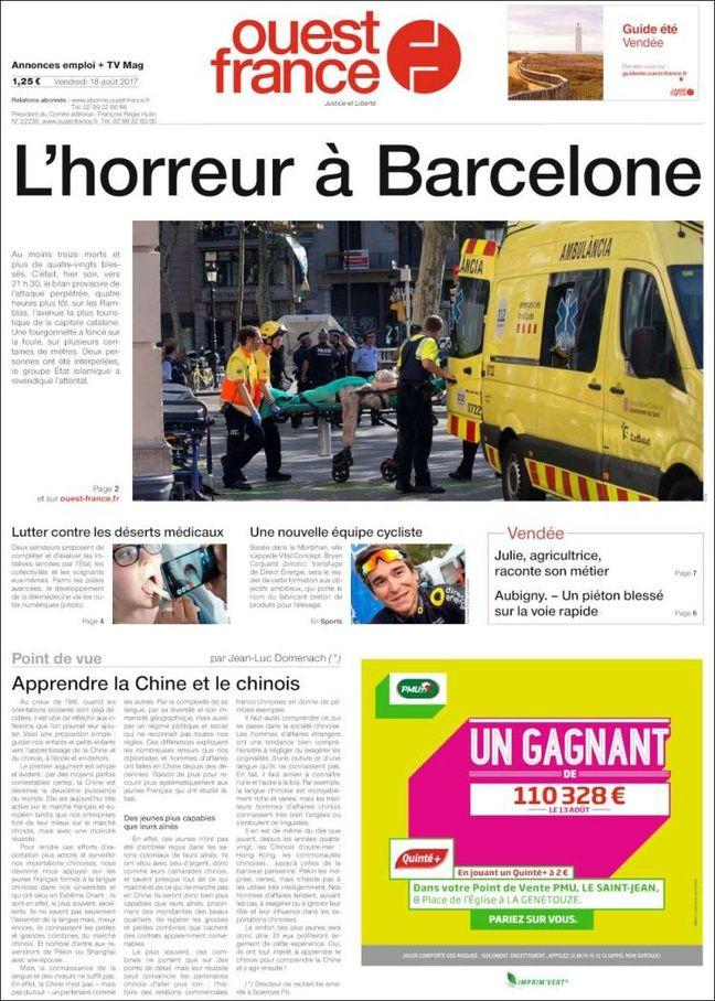 La une de «Ouest France» le 18 août 2017.
