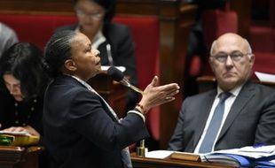 La ministre de la Justice Christiane Taubira, le 14 octobre 2015 à l'Assemblée nationale à Paris