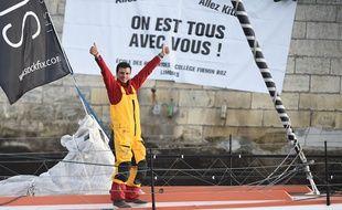 Didac Costa sur son bateau le jour du départ