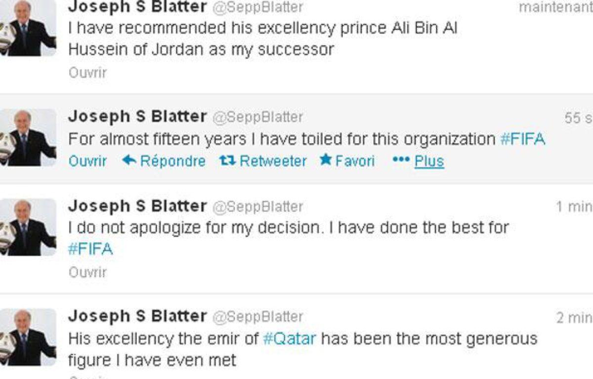 Le compte twitter de Sepp Blatter au moment du piratage. – Capture d'écran/20 minutes