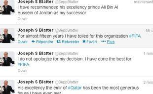 Le compte twitter de Sepp Blatter au moment du piratage.