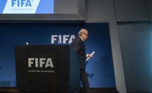 Le président de la FIFA Sepp Blatter à l'issue d'une conférence de presse, à Zurich le 2 juin 2015