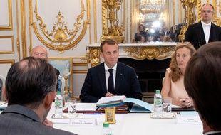 Emmanuel Macron lors du conseil des ministres le 3 août 2018.