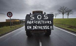 Illustration de la mobilisation des agriculteurs ici près de Bourges en février 2016.
