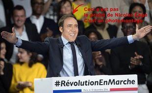 Photomontage entre Emmanuel Macron lors de son meeting à Paris le 10 décembre 2016 et Nicolas Cage à Deauville le 2 septembre 2013.