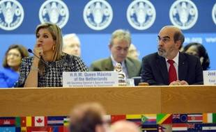 Le directeur général de la FAO, José Graziano da Silva et la reine Maxima des Pays-Bas, le 16 octobre 2014 à Rome