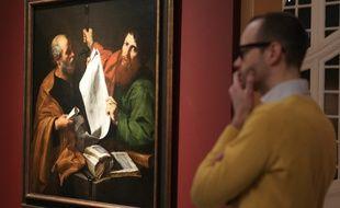 Strasbourg le 27 fevrier 2015. L'expositionRibera a Rome au musee des Beaux arts de Strasbourg. Tableaux Saint-Pierre et Saint Paul