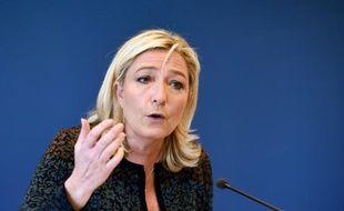-La présidente du FN Marine Le Pen le 7 novembre 2014 à Nanterre