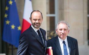 Le Premier ministre Edouard Philippe et le ministre de la Justice François Bayrou, photographiés le 31 mai 2017, à Paris.