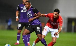 L'attaquant toulousain Wesley Saïd lors d'un match de Ligue 1 à Nîmes, le 21 septembre 2019.